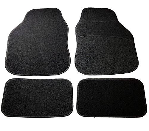 Safe Travel 27500 Alfombrillas universales para vehículos con volante a la derecha, Almohadilla para los pies de moqueta, Costuras en Color Negro