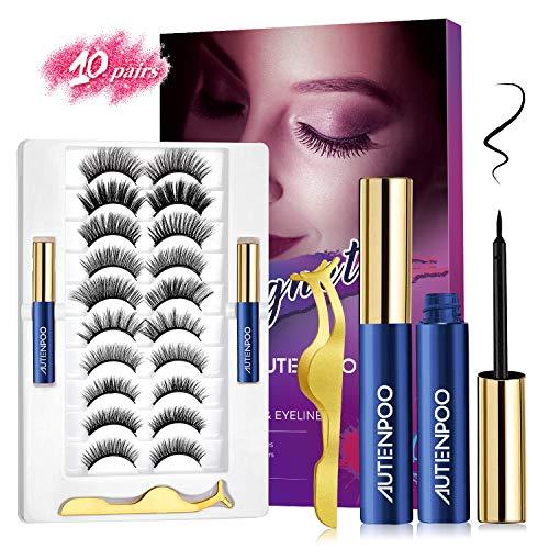 AUTENPOO Eyelashes, 10 Pairs Magnetic Lashes with Eyeliner, Professional 6D Mink Lashes, Upgraded Natural Look False Lashes& Reusable Wispy Lashes with Tweezers - No Glue Needed