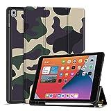 TNP Funda Compatible con iPad Air 8th 2020 / 7th 2019 10,2 Pulgadas, Carcasa Protectora Delgada Antigolpes de TPU con Función de Soporte para Lápiz y Auto-Sueño para Tabletas (Camuflaje Amarillo)