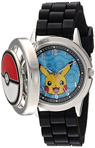 Pokemon Men's Analog-Quartz Watch with Silicone Strap, Black, 18 (Model: POK9025)