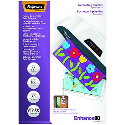 Fellowes 5302202 - 100 fundas de plastificar auto-adhesivas, 80 micras, formato A4 (216 × 303 mm)
