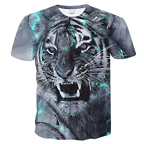 XDJSD Camiseta para Hombre Camiseta Corta De Manga Corta Camiseta De Gran Tamaño Top Camiseta De Cuello Redondo para Hombre Camiseta para Hombre Camiseta con Estampado De Tigre
