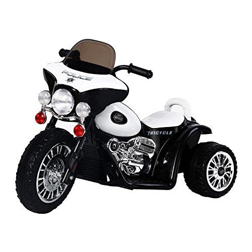 HOMCOM Elektro Kindermotorrad Elektromotorrad Kinderelektroauto Kinderfahrzeug Dreirad, 6V, Metall+PP, Schwarz+Weiß, 80x43x54,5cm