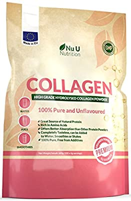 Collagen Powder 600g Protein High Grade Unflavoured Hydrolysed Collagen made in the EU from Pure Bovine 100% Collagen Hydrolysate in Resealable Pouch by Nu U Nutrition. by Nu U Nutrition