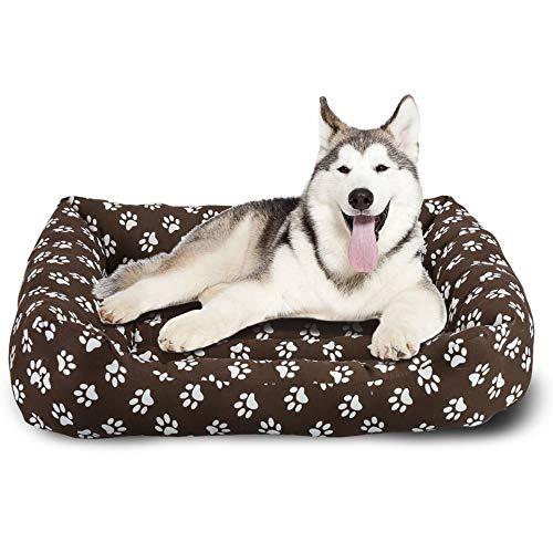 BCASE Cama para Perros, Cama para Mascotas Suave y Cómoda Estilo Cuna, Material 100% Poliéster, 65 x 82 CM, con Diseño de Huellas, En Color Café.
