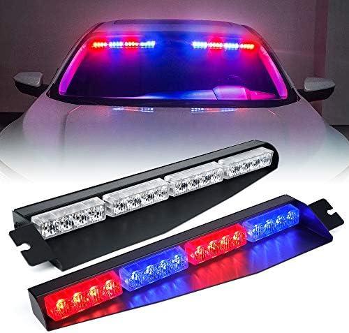 Upgrade Xprite LED Visor Strobe Light Bar Interior Windshield Sunvisor Emergency Warning Flashing product image