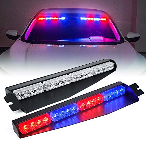 [Upgrade] Xprite LED Visor Strobe Light Bar Interior Windshield Sunvisor Emergency Warning Flashing Lights w/ Extend Bracket Split Mount for Police Volunteer Firefighter Vehicles Trucks Red Blue