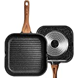 ESLITE LIFE Grill Pan for Stove Tops Nonstick Square Griddle Pan Induction Steak Bacon Pan with Granite Coating, 9.5 Inch