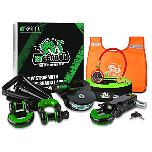 STEGODON Heavy-Duty Recovery Kit|Unique 4x4 Winch Accessory Kit with Recovery Tow Strap+8-Ton Snatch Block+Shackle Hitch Receiver+Hitch Lock+D-Ring Shackles+Folding Shovel+Tire Deflator+Winch Dampener