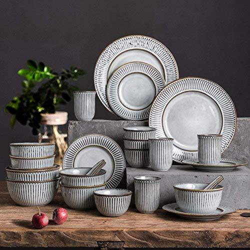 aedouqhr Ceramics Dinner Sets(38 Pieces), Plates/Bowls/Cups   Vintage Relief Series Dinnerware Set, Nordic Minimalist Style Porcelain Combination Set