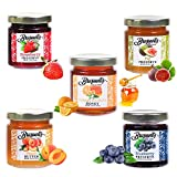 ⭐FRESH-Braswell's Mini Jars come boxed ⭐GIFTABLE-Makes a Great Gift Easter gift Mother's Day Gift, Birthday Day gift, ⭐DELICIOUS-5 Flavors everyone will love, Strawberry Preserves, Blueberry Preserves, Orange Blossom Honey, Peach Butter, and Best Sel...