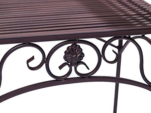 Gartenbank Eisen Metall Antik-Stil Garten Bank Gartenmöbel braun 70cm - 4