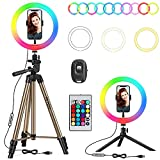 "PEYOU Aro de Luz con 2 Trípodes, 26 RGB Colores 10"" Anillo de Luz LED, 60''/152cm, 10 Brillos Regulables, Control Remoto, para Móvil, Cámara, Youtube, Selfie Vídeo, Maquillaje Fotográfica, TIK Tok"