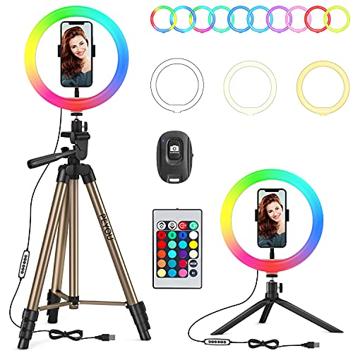 """PEYOU Aro de Luz con 2 Trípodes, 26 RGB Colores 10"""" Anillo de Luz LED, 60"""