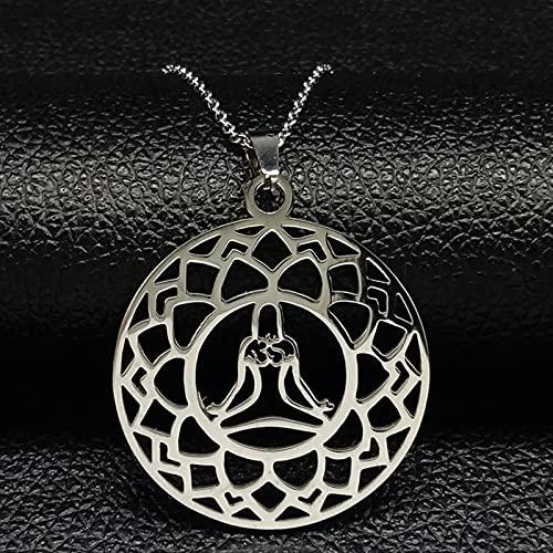DOOLY Yoga Lotus Collar de Acero Inoxidable Colgante Mujer Color Plateado Collar Llamativo joyería Flor de Loto bisuteria Mujer