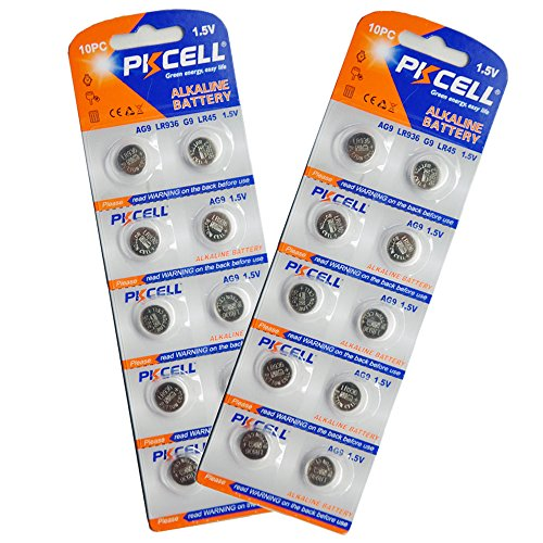 Alkaline-Batterie, AG9 1,5-V-Knopfzellenbatterien für Uhrenbatterien, 20 Stück, PKCELL