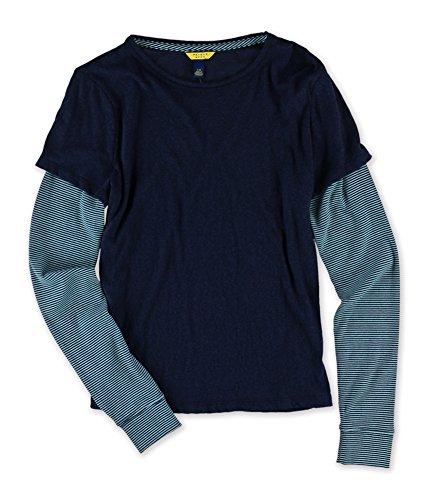 AEROPOSTALE Womens Layered LS Graphic T-Shirt, Blue, Small