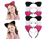 6 cerchietti luccicanti con orecchie di gatto, nastro con strass per costume da cosplay, accessori fai da te per compleanni, decorazioni per feste