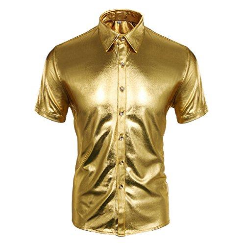 Cusfull Herren Hemd Metallic Glänzend Kurzarmshirt Glitzer Schlank Fit Kostüm für Nightclub Party Tanzen Disco Halloween Cosplay (M, Gold)