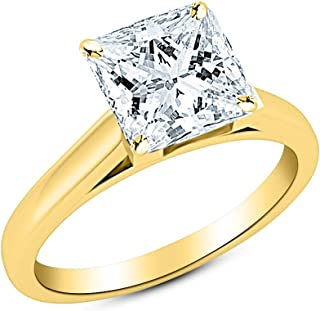 1.99CT PRINCESS CUT SOLITAIRE BRIDAL DIAMOND ENGAGEMENT RING 14CT SOLID GOLD