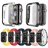 Ferilinso 6 correas pulsera para Apple Watch Band 44 + 2 unidades de protector de pantalla de película flexible, pulsera de silicona reemplazo brazalete extensible compatible con Apple Watch Band 44