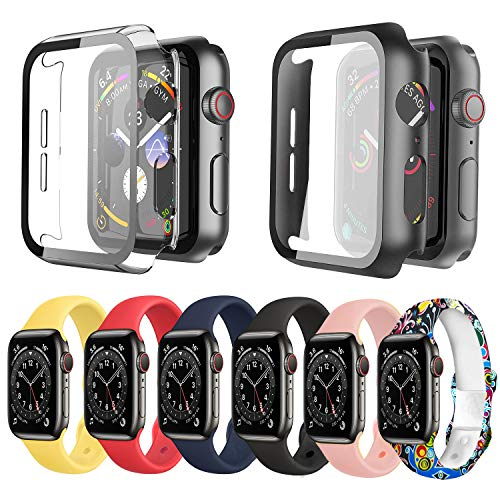 Ferilinso 6 Colors Soft Silicone Sport Replacement Strap For Apple Watch Bands 44mm With 2Pack Hard Case for Apple Watch SE Series 6 5 4 44mm Built in Screen Protector Tempered Glass, iWatch Women Men