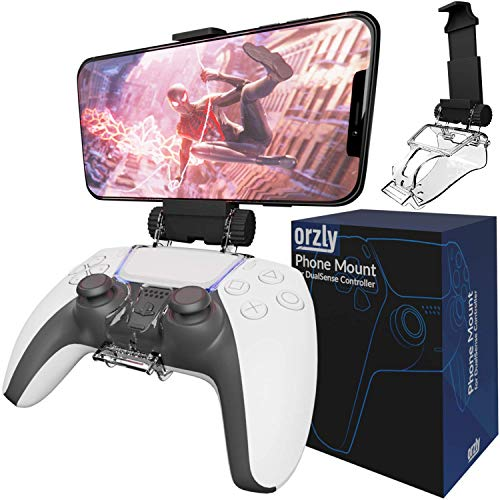 Orzly Accesorio PS5 Clip de Juego Compatible con Mandos Playstation 5 DualSense - Soporte para Teléfono Móvil Ajustable para Usar con PS5 Mandos de Juegos
