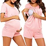 Ekouaer Womens Nursing Pajamas Set for Maternity/Breastfeeding/Delivery Pregnancy Clothes Pink L