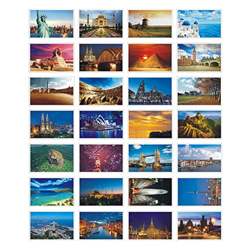 HOSTEESSCHOICE Beautiful Postcard set of 30 Post card variety pack World travel sites 4 x 6 In , World Place B