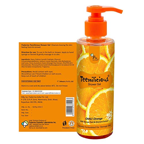 Teenilicious Orange Unisex Body Wash & Shower Gel For Boys & Girls, 200 ml