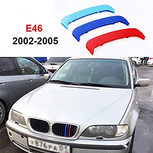 Coche Rejillas Frontales Para 3 Serie E46 316i 318i 320i 325i 328i 330i 323i 2002-2005(11 Rejillas) Inserciones de raya a la parrilla de riñón