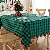 YDyun Mantel de Mesa a Rayas Decoración de Hogar Tela Escocesa roja y Verde de poliéster algodón teñido en Hilo