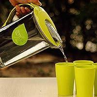 耐熱冷水ボトルセット大容量プラスチック冷水ボトルSOYA-豆乳ジュースフラワーティーポットウォーターグラス2.1Lグリーン