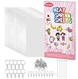 Warckon 149 Pieces Shrink Plastic Sheet Kit Include 24 PCS Shrinky Art Paper with 125 PCS Keychains Accessories for Kids Creative Craft