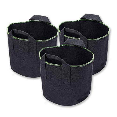 Schramm® 3 Stück 15 Liter Pflanzsäcke aus Vliesstoff Ø 27cm Pflanzsack Garten Sack aus Fliesstoff zum Bepflanzen Pflanzgefäß