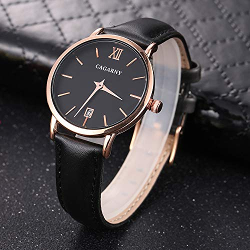 YOUZHIXUAN Reloj CAGARNY 6879 Moda importada de Pulsera de Cuarzo con Correa de Cuero (Negro + Negro) (Color : Color2)