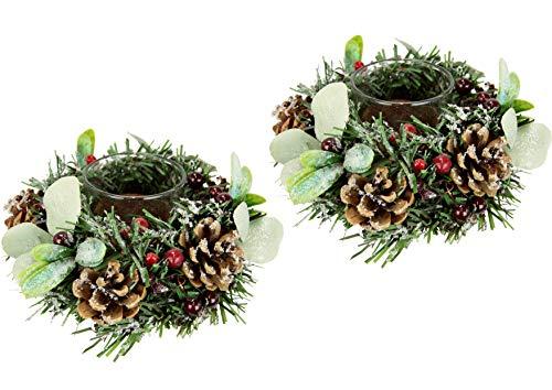 Teelichthalter dekoriert mit künstlichen Beeren Zapfen geeist mit Kunstschnee und Glas 2erSet Windlicht Kerzenhalter Kerzenhalter Kranz Teelicht Weihnachtsdeko Weihnachtskranz Adventskranz
