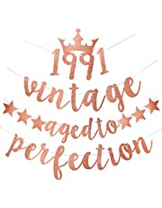 Yoaokiy 30th Birthday Party Decorations for Her - Glitter Vintage 1991 Aged to Perfection Banner - Thirty Birthday Party Decorations 30th Anniversary Party Supplies (Rose Gold)
