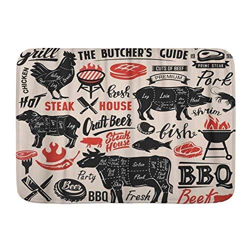 Fußmatten, Black Beef Meat Steak mit Schema Schriftzug Schwein Schwein Grill Grill Schweinefleisch, Küche Boden Badteppich Matte Saugfähig Innen Bad Dekor Fußmatte rutschfest