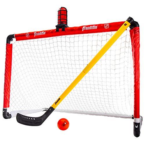 Franklin Sports Mini-Hockey-Tor-Set – NHL beleuchtetes Kniehockey-Tor und Schläger-Set mit Hockeyball, perfekt für Hallenhockey und Kniehockey