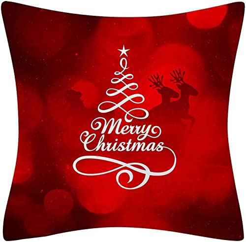 2021 OPTIMISTIC Merry Christmas Throw Pillow Covers 18x18 Inches Soft Red outlet sale Holiday Pillowcases Christmas Tree Decoration online Santa Cushion for Couch, Sofa, Home Holiday Pillowcase Protector sale