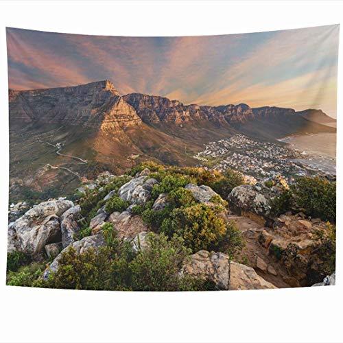 Wandbehänge Wandteppiche Tafelberg Sonnenuntergang Löwen Kapstadt Südozean Tourist Waterfront Travel Szenische Luft Sehenswürdigkeiten Tapisserie Wanddecke Wohnkultur Wohnzimmer Schlafzimmer Wohnheim