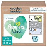Pampers Harmonie - Pañal lavable híbrida con 15 velos de protección desechables, protege la piel sensible de los bebés, ingredientes de origen vegetal y sin perfume, diseño de conejos