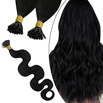 Ugeat I Tip Hair Extensions Human Hair Body Wave 22Inch Itip Real Human Hair Extensions Pre Bonded I Tip Hair Extensions 50Strands 0.8g/Strand #1B Off Black Fusion Hair Extensions