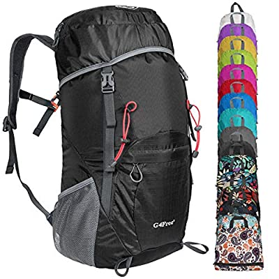 G4Free Lightweight Packable Hiking Backpack 40L Travel Camping Daypack(Black)