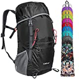G4Free Lightweight Packable Hiking Backpack 35L Travel Camping Daypack Foldable(Black)