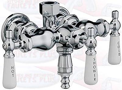 Chrome Clawfoot Tub Diverter Faucet with 3 Porcelain Lever Handles