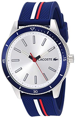 Lacoste Men's Stainless Steel Quartz Watch with Rubber Strap, Blue, 20 (Model: 2011006)
