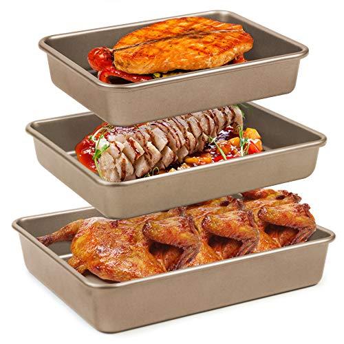 SuperMa 3 Pack Baking Pans Set Nonstick Square Cookie Sheet 9 11 13 Inch Deep Cake Pan for Baking Bread, Toaster Bakeware Gold
