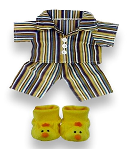 Build Your BearsWardrobe - Pigiama per Orsetti di Peluche da 38,1 cm, con Pantofole a Forma di paperelle, Colore: Giallo